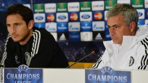 Former Chelsea midfielder Frank Lampard (left) Blues boss Jose Mourinho