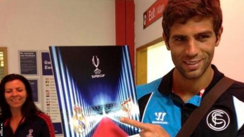 Sevilla centre back Federico Fazio in Cardiff.