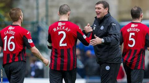 Manager Tommy Wright congratulates his St Johnstone players after Sunday's 2-1 win at Ross County