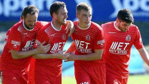 Portadown celebrated a 3-0 win over Linfield on the opening day of the season