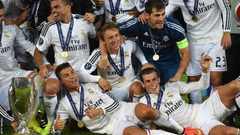 Bale and his Real Madrid team-mates celebrate their Super Cup victory.