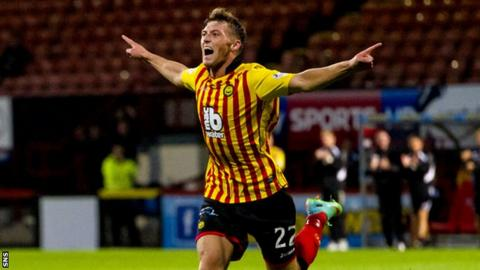 Gary Fraser celebrates his strike as Partick go defeat Ross County 4-0.