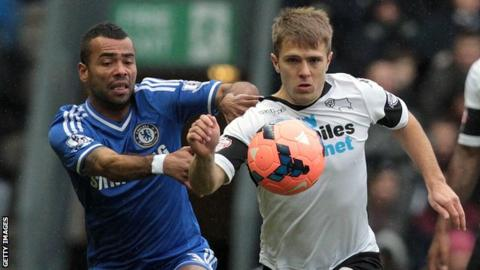 Jamie Ward (right) battles for possession with Ashley Cole of Chelsea