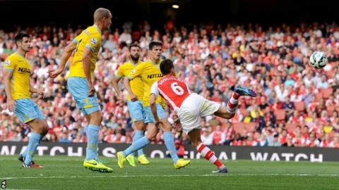 Laurent Koscielny scores for Arsenal