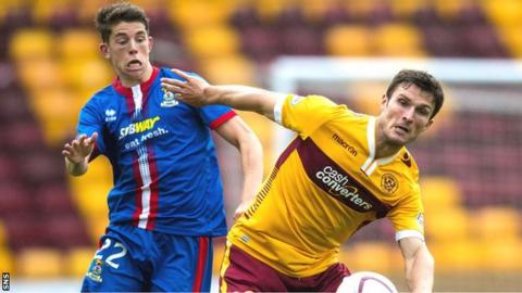 Motherwell's John Sutton battles for possession with Inverness CT's Ryan Christie