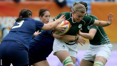 Claire Molloy in on the charge for Ireland in Sunday's third-place match