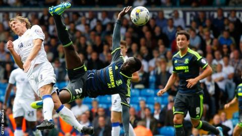 Albert Adomah went airborne to shoot against Leeds