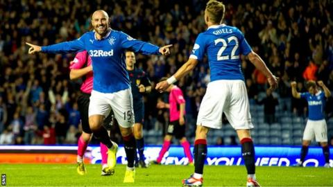 Kris Boyd celebrates scoring his hat-trick