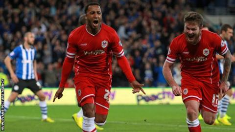 Nicky Maynard celebrates scoring for Cardiff City against Wigan