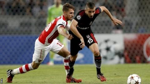 Both of Aaron Ramsey's bookings in Istanbul came for pulling back Besiktas players