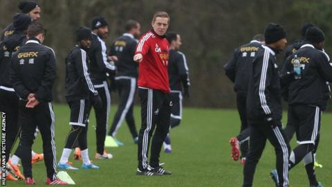 Garry Monk directs a Swansea City training session