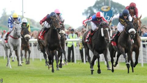 Mutual Regard (third from right) wins the Ebor Handicap
