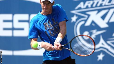British number one Andy Murray during practice in New York