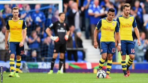 Alexis Sanchez of Arsenal (second from right) and his team-mates look dejected during the Premier League match between Everton and Arsenal