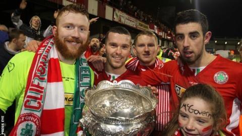 Cliftonville celebrate last season's League Cup success