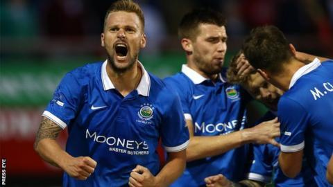 Peter Thompson celebrates scoring against Glentoran