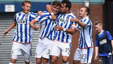 Kilmarnock players celebrate a goal in the 2-0 win over Motherwell