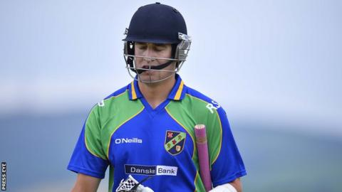 North West Warriors' David Rankin is bowled out cheaply by Northern Knights