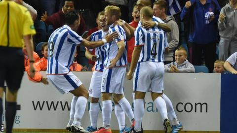 Kilmarnock's Rory McKenzie (centre) celebrates with team-mates having put his side 1-0 up against Ayr United.