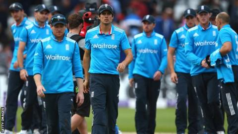 England players after the defeat by India