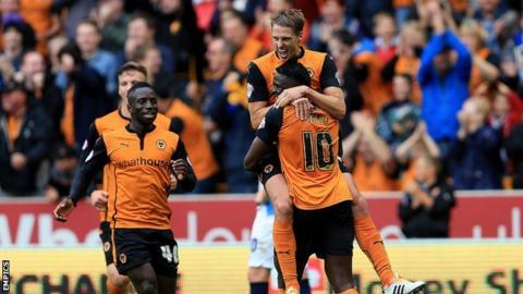 Wolves celebrate Bakary Sako's first goal against Blackburn
