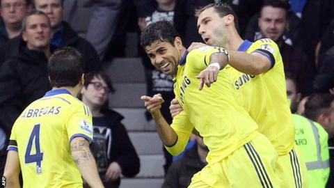 Diego Costa (centre) celebrates his opening goal