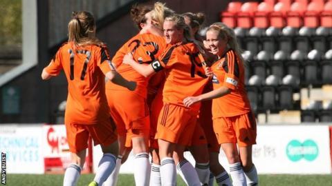 Glasgow City players celebrate Eilish McSorley's late winner