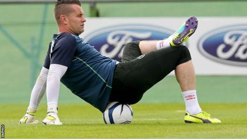 Shay Given relaxes during a Republic training session on Monday