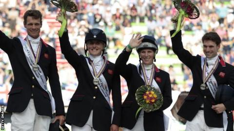 Great Britain's (from left) William Fox-Pitt, Kristina Cook, Zara Phillips and Harry Meade