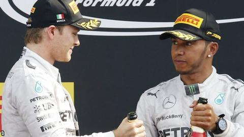 Mercedes drivers Nico Rosberg (left) and Lewis Hamilton