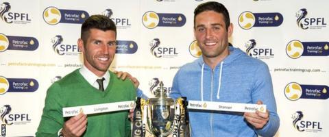 Livingston assistant manager Mark Burchill and Stranraer captain Frank McKeown