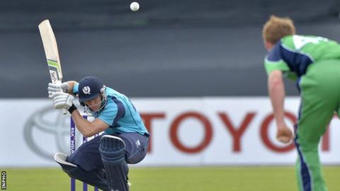 Scotland's Richie Berrington ducks from a high ball in the second ODI