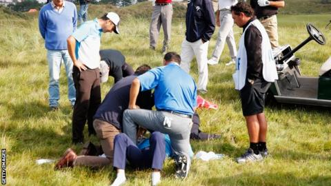 Fabrizio Zanotti is in hospital after being hit by a ball in the KLM Open.