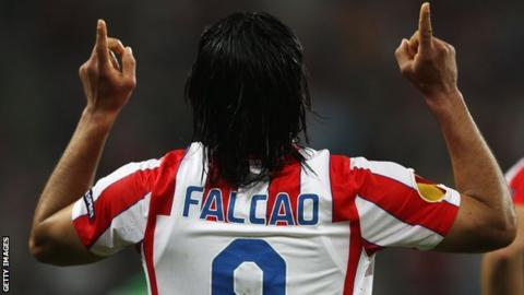 Radamel Falcao playing for Atletico Madrid
