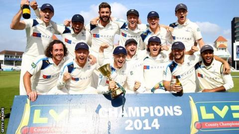 Yorkshire celebrate winning the County Championship