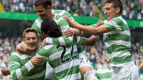 Celtic's Jason Denayer (22) celebrates his opening goal against Aberdeen.