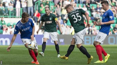 Jason Cummings scores for Hibernian against Cowdenbeath