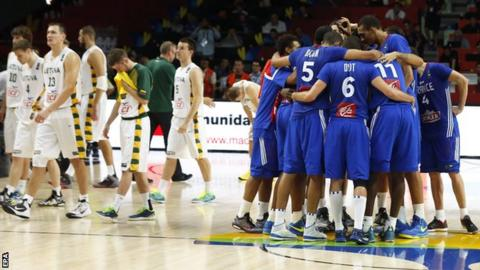 France celebrate their win over Lithuania