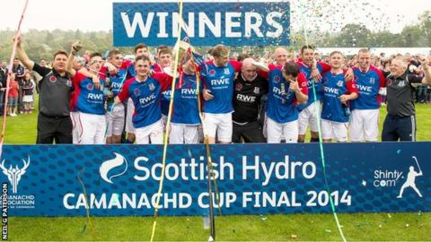 Kingussie celebrate winning the Camanachd Cup