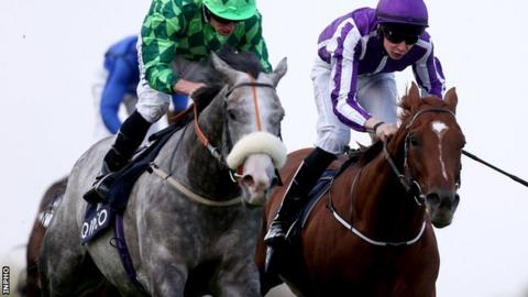 Ryan Moore produced a perfectly timed late run aboard The Grey Gatsby to pip 3-10 favourite Australia, ridden by Joseph O'Brien