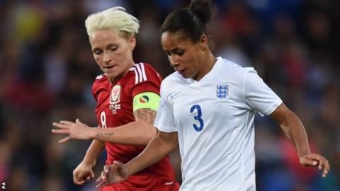 Jess Fishlock in action against England's Demi Stokes