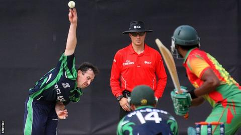 Alex Cusack bowling against Bangladesh in March