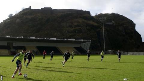 The Scotland team train at Bet Butler Stadium