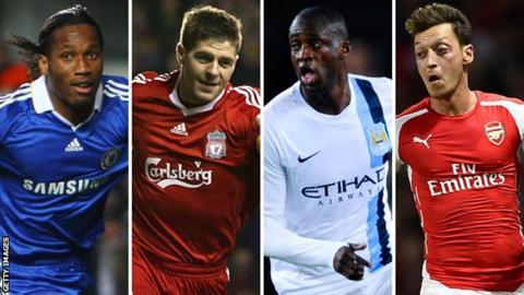 Didier Drogba, Steven Gerrard, Yaya Toure and Mesut Ozil