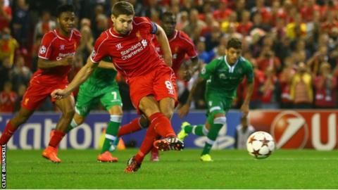 Steven Gerrard scores Liverpool's winner from the penalty spot.