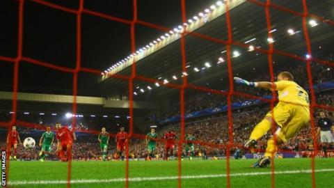 Steven Gerrard scores a late penalty against Ludogorets