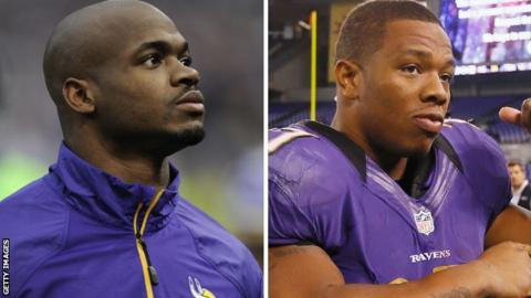 Adrian Peterson (left) and Ray Rice