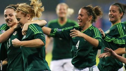 Northern Ireland celebrate after Rachel Furness put them into the lead