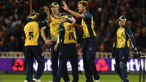 Bears players celebrate at the T20 Blast final at Edgbaston