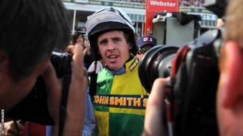 Jason Maguire after winning the Grand National on Ballabriggs